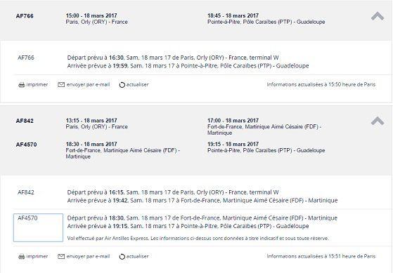 horaires air france