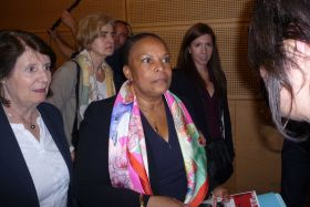 Christiane Lazergues, présidente de la CNCDH et Christiane Taubira à Sciences Po