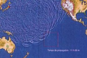 Projection de propagation d'un tsunami