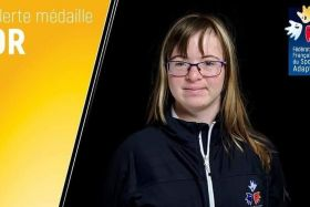 Delphine André or au relais 4x50 m des Global games 2019, sport adapté