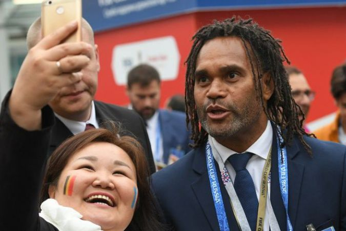 Christian Karembeu à Saint-Petersbourg pendant la coupe du monde de football