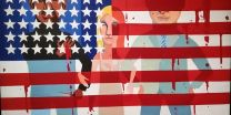 """The Flag is Bleeding"" (huile sur toile, 1967), par Faith Ringgold"